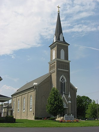 National Register of Historic Places listings in Mercer County, Ohio - Image: Nativity of the Blessed Virgin Parish church from east