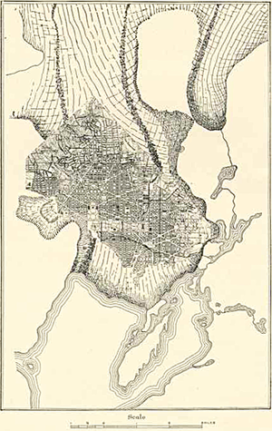 Columbia Glacier (Alaska) - An illustration of Columbia Glacier in 1910, with the District of Columbia overlaid for scale comparisons