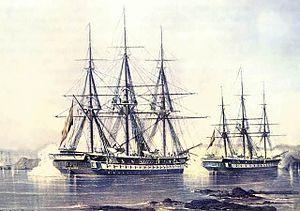 Battle of Abtao - Spanish screw frigates Blanca and Villa de Madrid during battle, by Federico Castellón Martínez. Naval Museum of Madrid