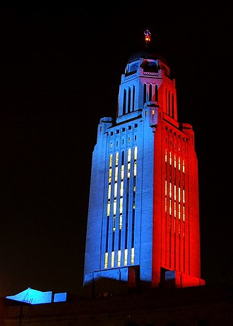 Nebraska State Capitol - The Capitol is sometimes illuminated various colors to honor causes.