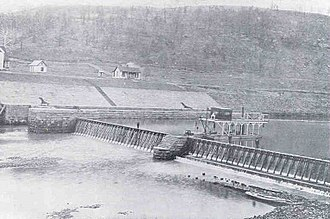 Louisa, Kentucky - General view of the needle dam and lock as originally built in 1896 at Louisa