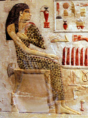 Women in ancient Egypt - Old Kingdom Egyptian princess Nefertiabet (dated 2590-2565 BCE) from her tomb at Giza, painting on limestone, now in the Louvre Museum, Paris.