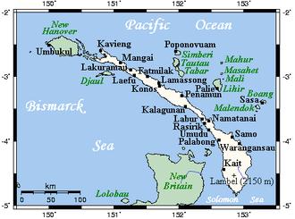New Ireland (island) - New Ireland's main towns and nearby islands