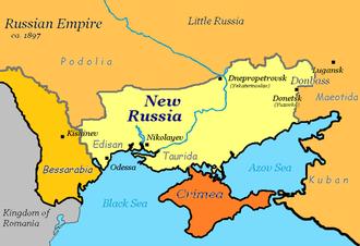 Novorossiya - A map of Novorossiya (New Russia), c. 1897.
