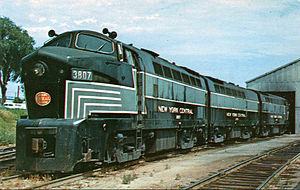 "New York Central 3807 with ""B"" unit 3703 and ""A"" unit 3806 at back, 1958."