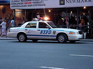 A Ford Crown Victoria in service with the NYPD.