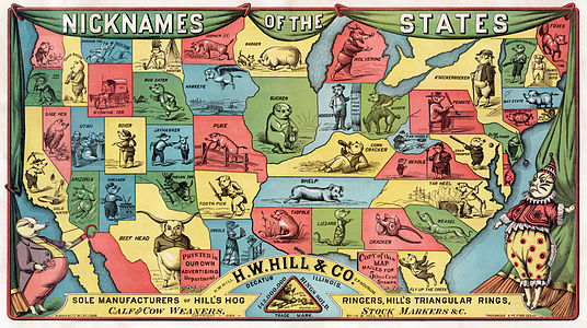 Colorful map of the United States in 1884, illustrating each state as a caricatured hog