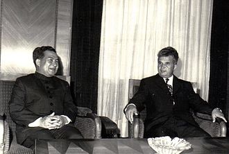 Norodom Sihanouk - Sihanouk (left) visiting Romania in 1972, with Romanian President Nicolae Ceaușescu