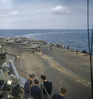Supermarine Seafire - Multiple Seafires and Grumman Wildcat fighters prepared for take-off on the flight deck of HMS ''Formidable'' off the coast of North Africa, November 1942