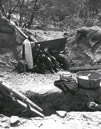 76 mm divisional gun M1942 (ZiS-3) - An abandoned Soviet-made North Korean ZiS-3 on a hill overlooking Incheon harbor after its capture by United Nations forces during the amphibious landings at Incheon in mid-September 1950.