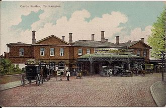 Northampton railway station - 1900s postcard of the exterior of Castle station.