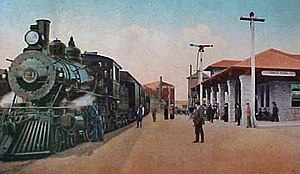 Santa Rosa–Railroad Square station - Postcard of a Northwestern Pacific Railroad train at the Santa Rosa station in 1911.