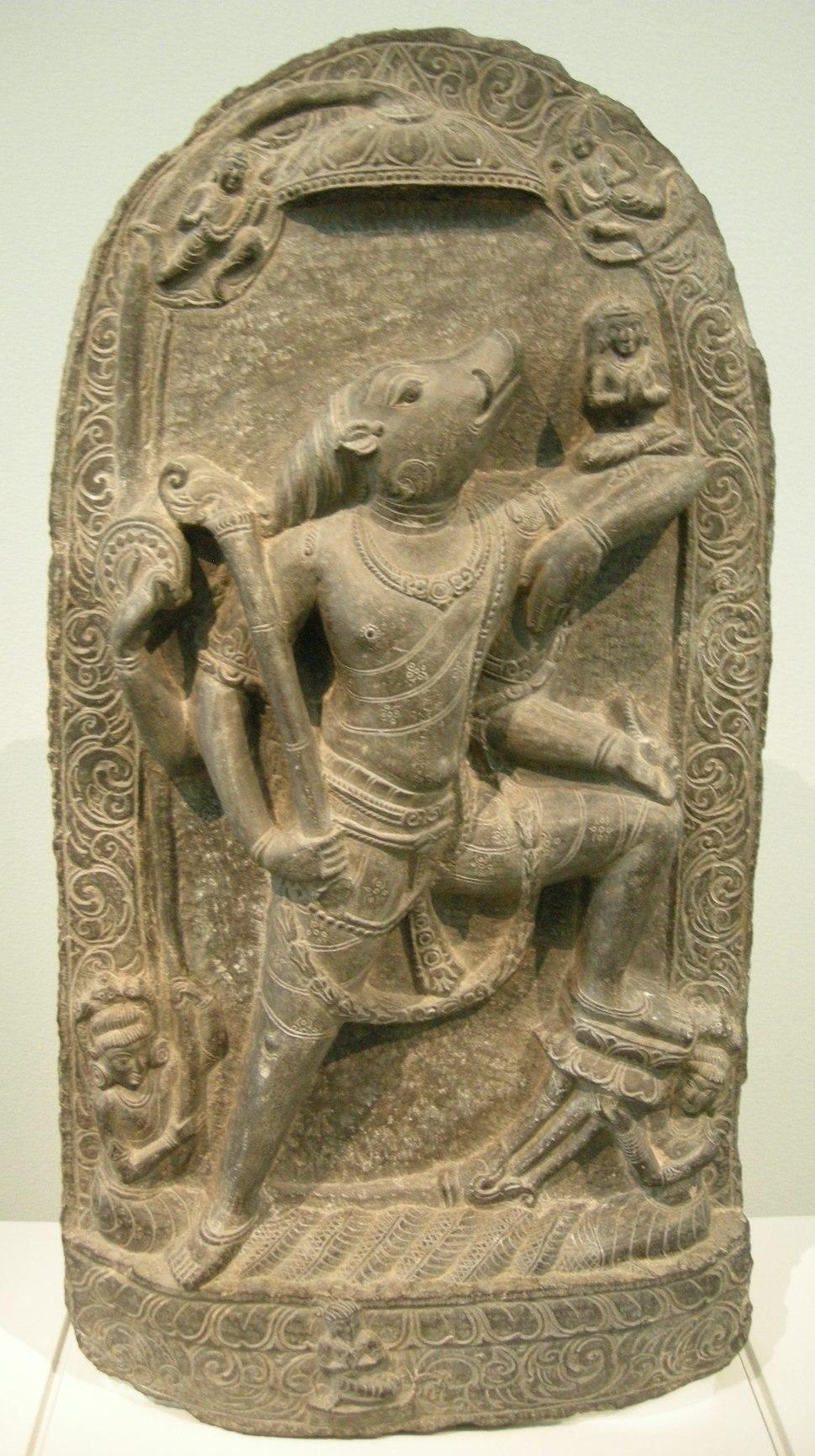 Nswag, india bengala occidentale, periodo pala (760-1142) varana che libera la dea della terra bhudevi, X sec.