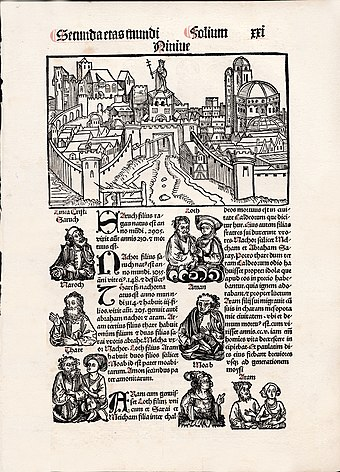 A page from a pirated edition of the Nuremberg Chronicle 1497 Nuremberg Chronicle Pirated Page.jpg