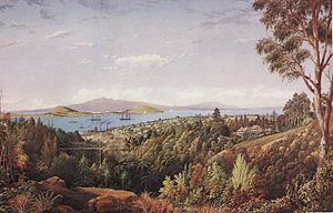 George O'Brien (painter) -  O'Brien's view of Auckland and the old Grafton bridge, 1887.