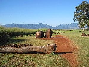 Kukaniloko Birth Site - View from park entrance toward Kolekole Pass