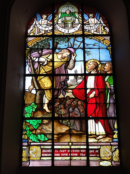 Ohain (Nord, Fr) église Saint-Martin, vitrail A (1888) par un verrier de Trélon