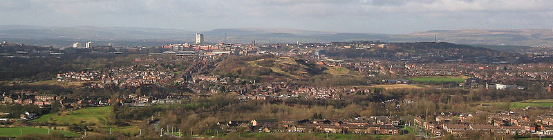 A panorama of Oldham from Hartshead Pike to the south east.