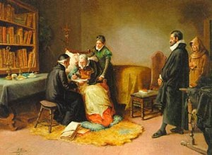 Eugenio Oliva - The Last Moments of Cervantes; inscribing a copy of Don Quixote for the Count of Lemos.