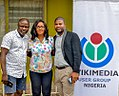 Olushola Olaniyan flanked by Yinka and Issac at WIkimedia User Group's Strategy Meeting.jpg