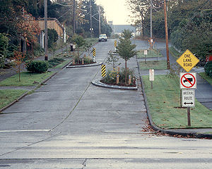 One-lane chicane (likely located in Seattle, W...