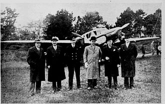 Hall Caine Airport - The opening of Hall Caine Airport, Tuesday 30 April 1935. Left to right; Mr. T.J. Rubens and Mr. J.J. Faragher vice-chairman and chairman respectively of Ramsey Town Commissioners; Captain Oscar Garden (pilot); Alderman J. Skillicorn (Mayor of Douglas); Mr. Percy Shimmin (Douglas Town Clerk) and Mr. W.E. Faragher (Ramsey Town Clerk).
