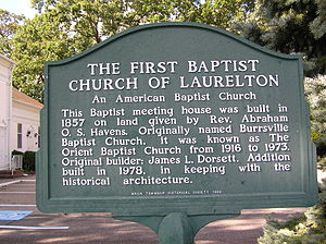 Brick Township, New Jersey - The historical plaque that adorns the church's lawn