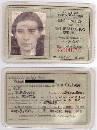 Permanent residence (United States) - United States Alien Registration Receipt Card
