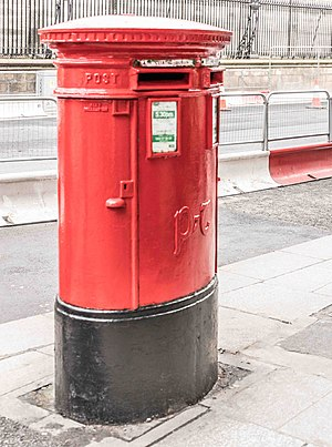 Centenary of the Easter Rising - A pillar box painted red to commemorate the centenary of the Easter Rising. Since 1922 pillar boxes in Ireland have traditionally been painted green.
