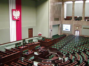 Flag of Poland - Inside the Sejm chamber, example of vertical alignment of Polish national colors