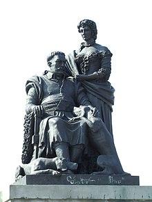 König Sobieski mit seiner Ehefrau Maria Kazimiera d'Arquien auf dem Denkmal in Wilanów (Quelle: Wikimedia)
