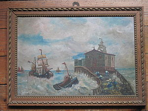 Painting of jetty with fishing boats (Galabert).jpg