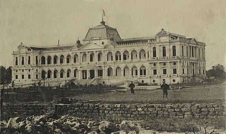 Saigon Governor's Palace about 1875, later renamed Norodom Palace after Norodom of Cambodia Palais du Gouverneur Général à Saïgon (1875).jpg