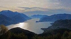 Panoramic view of Como Lake (Lago di Como), seen from the mountain Monte Grona - Plesio (Como) 2015-10-25.JPG