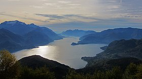 Panoramic view of Como Lake (Lago di Como), seen from the mountain Monte Grona - Plesio (Como) 2015-10-25.JPG