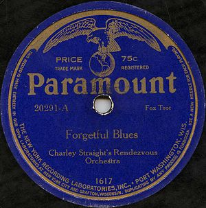 The label of Charley Straight's recording of F...