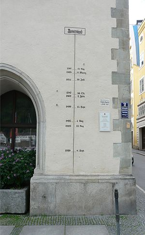 100-year flood - High-water scale 1501-2002 at Passau, Germany, as of September 2012