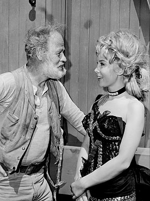 Paul Brinegar - Brinegar as Wishbone with guest star Barbara Eden in a 1964 episode of Rawhide