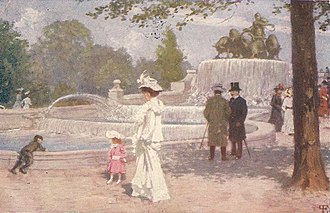 Gefion Fountain - People strolling at the Gefion Fountain: Painting by Paul Gustav Fischer
