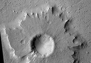 Amazonian (Mars) - Image: Pedestal crater and streaks