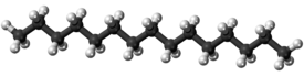 Ball-and-stick model of the pentadecane molecule
