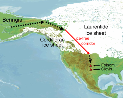 This map shows the approximate location of the ice-free corridor and specific Paleoindian sites (Clovis theory). Peopling of America through Beringia.png