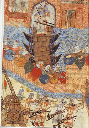 Siege of Samarkand (1497) - Image: Persian painting of Hülegü's army attacking city with siege engine