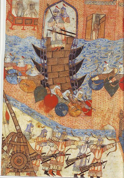 File:Persian painting of Hülegü's army attacking city with siege engine.jpg