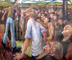Peter Benjamin Graham - Peter Lalor Addressing the Miners Before Eureka by Peter Graham, Oil On Canvas 1945