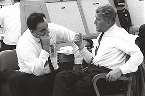 Rocco Petrone - Petrone (l) and Werner Von Braun talk during preparations for the A-104 (SA-8) Saturn 1 launch at LC-37