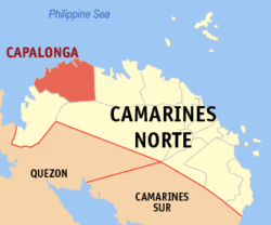 Map of Camarines Norte showing the location of Capalonga