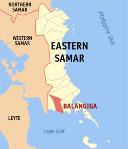Map of Eastern Samar with Balangiga highlighted
