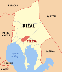 Map of Rizal showing the location of Teresa.