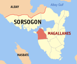 Map of Sorsogon with Magallanes highlighted